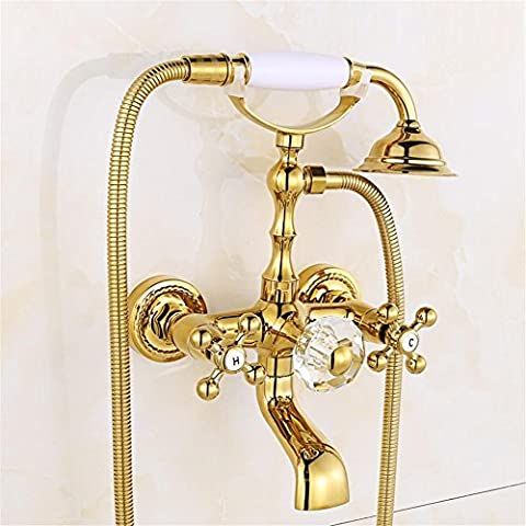 Luxury Gold Brass Bathroom Faucet Bath Faucet Mixer Tap Wall