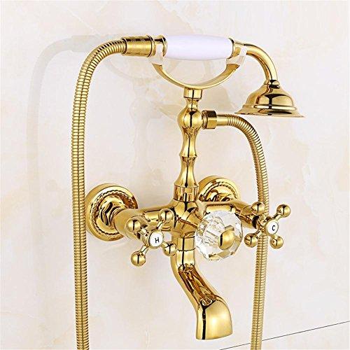 Luxus-Gold-Messing-Badezimmer-Hahn-Bad-Hahn-Mischer-Hahn-Wand-angebrachte Hand-Dusche-Kopf-Installationssatz-Dusche-Hahn-Sätze , 2