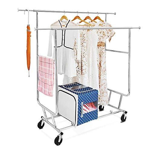 LARRY SHELL Doppel-Kleidung Schienenständer, Trocknen Heavy Duty Teleskop kommerziellen Garment Rack auf Rädern mit Schuhrack, für Schlafzimmer, Balkon, Hof, Einkaufszentrum