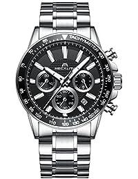 Herren Edelstahl Uhren Männer Chronographen Sport 30M Wasserdicht Luxus Datum Kalender Designer Armbanduhr Mode Geschäfts Beiläufig Kleid Analog Quarz Uhr mit Schwarz Zifferblatt Silber Uhrenarmband
