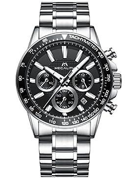 [Gesponsert]Herren Edelstahl Uhren Männer Chronographen Sport 30M Wasserdicht Luxus Datum Kalender Designer Armbanduhr Mode...
