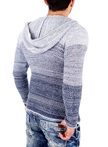 Reslad Strickjacke Herren Color-block Kapuzen-Pullover Cardigan Jacke RS-3107 Indigoblau