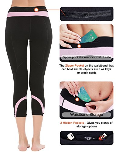 DeepTwist Damen Yogahose Workout Strumpfhose Sports Hosen Fitness Leggings mit Taschen Pink(With Pocket)