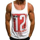 Camisetas Sin Mangas Hombre, Moda Camiseta De Tirantes Casual para Hombre Camiseta Sin Mangas Delgado Carta Impresa Sin Mangas Camiseta Blusa Tops ... (XL, Gris)