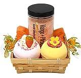"""Frauen Geschenkset 5 tlg. """"Sweet Smoothie"""", Badesalz Mango - Pfirsich, 2x Badebombe, Seiftuch orange 30 x 30 cm das SPA Badeset im Geschenkkorb"""