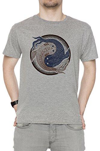 Yin Yang Pescado, shuiwudao Mandala Hombre Camiseta Cuello Redondo Gris Manga Corta Tamaño M Men's Grey Medium Size M