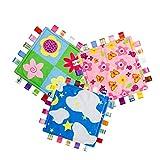 INCHANT Baby-Sicherheitsdecken bunte Tags Soothing Handtuch weiche warme Kleinkind Sicherheit Blankie, 3er-Pack