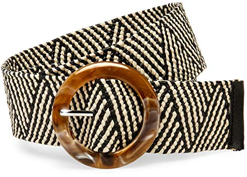 Caspar GU321 Breiter Damen Stretch Taillengürtel, Farbe:schwarz/beige, Gürtelgröße:105 [Körperumfang 90-110 cm] - Pullover Mit Flechtmuster