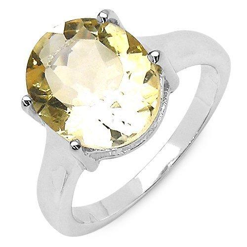 Silvancé - Damen Ring - 925 Silber, rhodiniert - echter Edelstein: Citrin ca. 4.04ct. - R726C / Gr. 57 (18.1) Natürlichen Citrin Ring