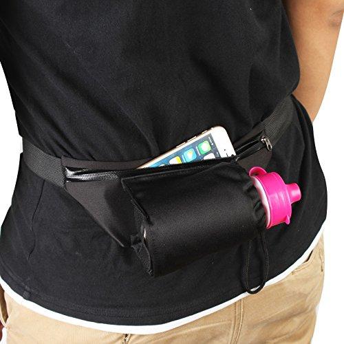 2-TECH Sportgürteltasche mit Trinkflaschen-Halter Handygürtel Gürteltasche Laufgürtel in schwarz ideal für Jogging Laufen für Handy, Schlüssel Karten -
