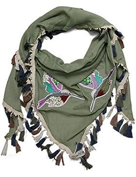 Mujer Pañuelo triangular con Borlas y colibrí Pegatina extra grande Algodón Bufanda XXL
