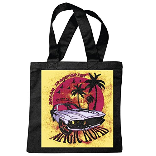 "Preisvergleich Produktbild Tasche Umhängetasche ""MAGIC ROAD DREAM TRANSPORTER HOT ROD MUSCEL CAR US HOT ROD US CAR MUCLE CAR V8 ROUTE 66 USA AMERIKA "" Einkaufstasche Schulbeutel Turnbeutel in Schwarz"