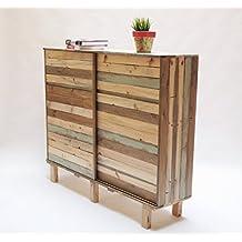 Mueble auxiliar almacenaje hecho con madera recuperada. Armario a medida y por encargo.