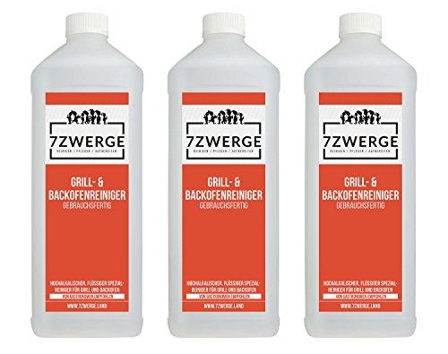 7Zwerge Grill und Backofenreiniger mit Sprühkopf - Grillreiniger (3 x 1000 ml)