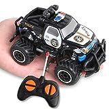BeebeeRun Polizeiauto Ferngesteuertes 2.4 GHZ RC Auto Buggy 1:28 Funkfernbedienungswagen KinderSpielzeug Spielzeug Auto für Kinder Jungen Mädchen Kindergeschenk (Schwarz)
