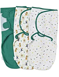 Baby Swaddle Wrap - Pack of 3 Swaddle Blankets - 100% Cotton - Jungle - Large: 4-6 Months