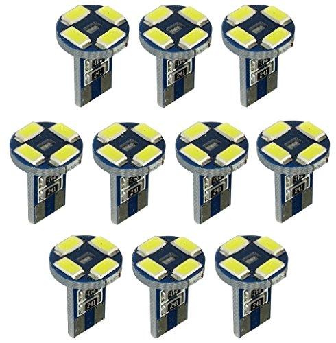 Aerzetix: 10x ampoule T10 W5W 12V 4LED 2W blanc effet xénon veilleuses éclairage intérieur seuils de porte plafonnier pieds lecteur de carte coffre compartiment moteur plaque d'immatriculation C19700