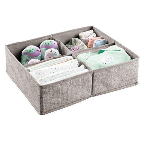 mDesign boîte de rangement avec 4 compartiments – panier de rangement idéal pour les jouets, couches, lingettes humides, etc. – bac de rangement – gris