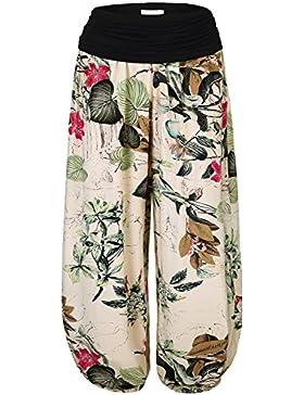 BAISHENGGT Mujer Pantalones Harem con Cintura Elástica Albaricoque-Floral X-large