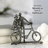 Casablanca 74610 Design Skulptur Pair on Bike - Paar auf Fahrrad - Gußeisen brüniert 15 x 15 x 8 cm