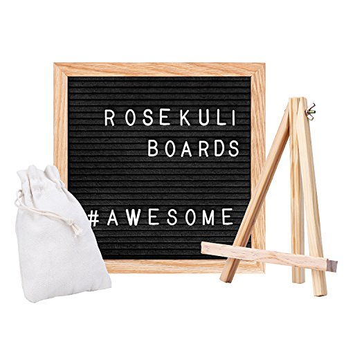 Board - Rahmen aus Massiver Eiche Letterboard Schwarz Briefbrett 352 weißen Tafel Memoboard Buchstaben und Sonderzeichen sowie Zahlen - 25.4 x 25.4 cm - Retro Design ()