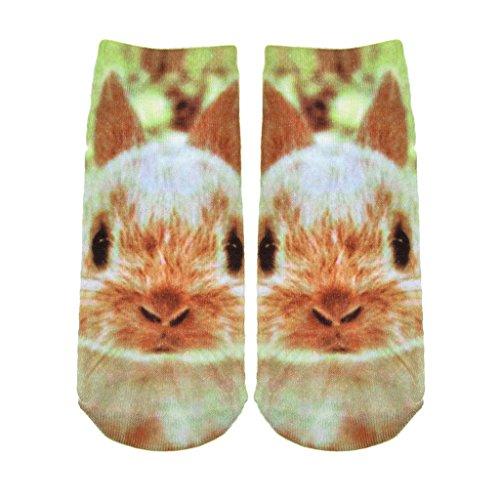 Niedlichen Häschen Mädchen Gedruckt Unsichtbar Footsies Liner Footlet Enge Socken (Bambus Socke-liner)