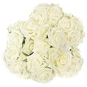 LuckyFine 50PCS Schiuma Rosa Bouquet Da Sposa Bouquet Floreale Fiori Artificiali Nuziale Decorazione Wedding 7 Centimetri Bianco Latte