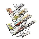 QIANGDA Bücherregal In Baumform Eisen Bücherschrank Schwarz Stock Bücherregal Zeitungsständer Lagerregal, 40 X 22 X 160 cm
