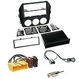 Einbauset : Autoradio 1-DIN Blende Einbaurahmen Radioblende mit Ablagefach schwarz + ISO Radio Adapter Kabel Adapterkabel + Antennenadapter für Mazda MX-5 (NC Facelift) ab 11/2008