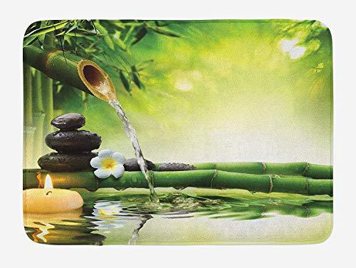 KIYINY Hawaiian Bath Mat, Palm Tree Rocky Shore Caribbean Mist Traveling Resort Scenic, Plush Bathroom Decor Mat with Non Slip Backing, Almond Green Pale Yellow Brown 15.7X23.6 inch/40X60cm