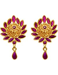 Joyalukkas Ratna Collections 22k (916) Yellow Gold and Ruby Drop Earrings for Women
