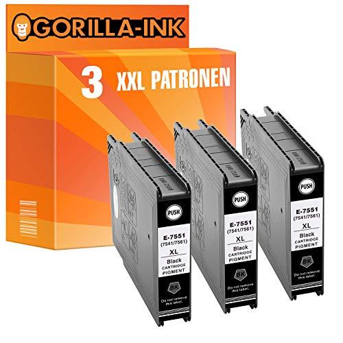 Gorilla-Ink 3 Druckerpatronen XXL Black GI7551 kompatibel mit Epson WF-8000 WF-8010 DW WF-8090 DTW WF-8510 TC WF-8590 DTWFC WF-6530 MFP je 130ml