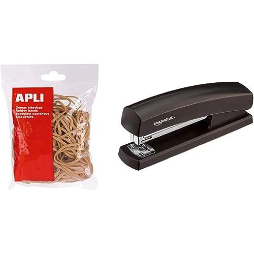 APLI–Elastici elasticas–60x 2–Borsa di 100gr - & AmazonBasics Spillatrice con 1000 punti metallici, nero