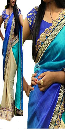 Sunshine Fashion Blue Color Pedding Georgette ,Lycra Duedrope Fabric Thread Work& Sequnce...