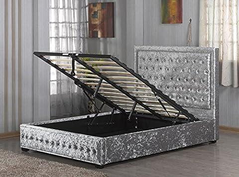 Silver Crushed Velvet Ottoman Style Bed Frame 5ft Kingsize