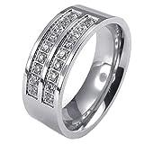 KONOV Schmuck Herren-Ring, Damen-Ring, Edelstahl Zirkonia Diamant, Eheringe Verlobungsringe, Silber - Gr. 62