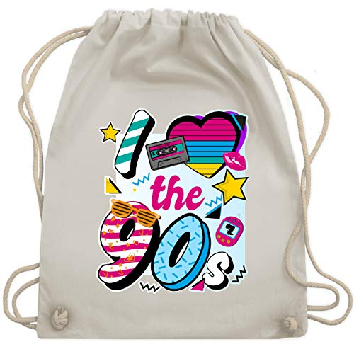 Statement Shirts - I love the 90s bunt - Unisize - Naturweiß - WM110 - Turnbeutel & Gym Bag -