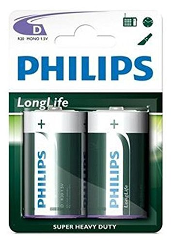 Philips Mono D Batterie (2er Pack) Longlife R20 aus Zinkchlorid 1,5V Spannung
