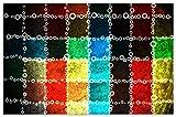 Wallario Herdabdeckplatte/Spritzschutz aus Glas, 2-teilig, 80x52cm, für Ceran- und Induktionsherde, Motiv Buntes Patchwork-Muster mit Kreisen