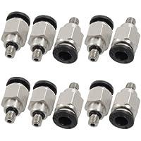 Sourcingmap–10piezas 5mm rosca macho 6mm Push en joint neumático conector quick fittings