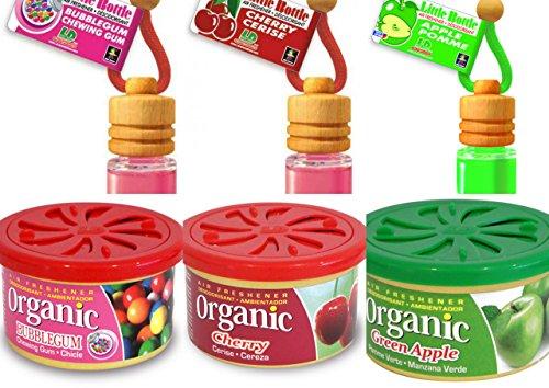 LD 3 Organic Scent Pad Duftdosen und 3 Little Bottle Duftflakons fürs Auto und Zuhause im Bestseller Mix: Cherry - Kirsche, Bubble Gum, Apple - Apfel, -