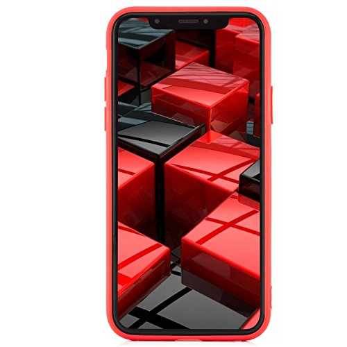 zanasta® iPhone X Hülle Case Silikon Soft Flex Schutzhülle Ultra-Slim Handyhülle Cover - Matt Türkis Rot
