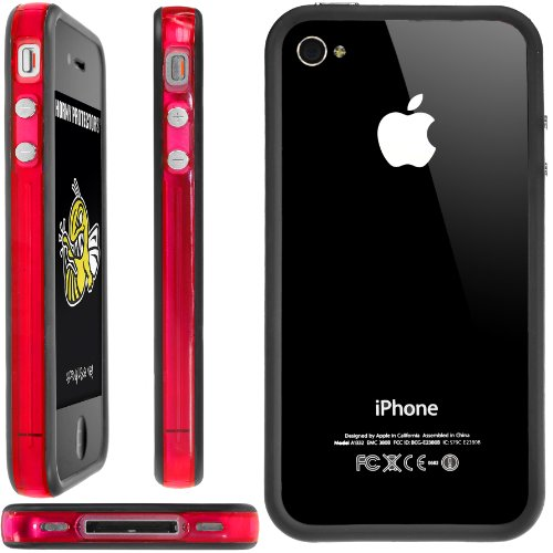 Horny Protectors Bumper für Apple iPhone 4/4S transparent/grün mit Metallbutton rot/transparent/schwarz