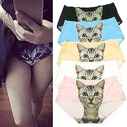 AOWA® Seda de Hielo No hay Rastro Patrón del Gato Ropa Interior para Mujer,Tamaño Único , 5 colores/Set