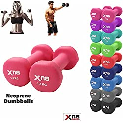 Neoprene Dumbbell Set 1 kg, 2 kg, 3 kg, 4 kg, 5 kg, 6 kg, 8 kg, 10 kg Pair Ladies Gents Aerobic Weights Fitness Body Pilates, Pink, 3 kg Set, 3 x 2 = 6 kg