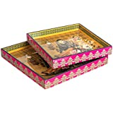 Designer MDF Wooden Serving Trays Set | Set Of 2 Trays | Single Lady Design With Special Enamel Coating - Multicolor