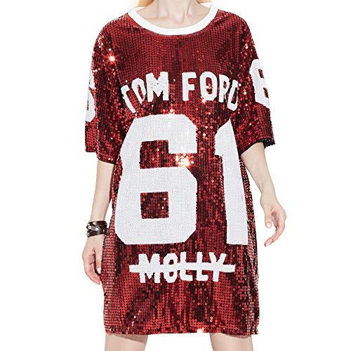 unbrand Pailletten-Hip-Hop-Hemd mit Glitzer-Pailletten für Damen Jazz Dancing T-Shirt-Kleid in Übergröße Clubwear-Tanktop - Chinesen In Roten T-shirts