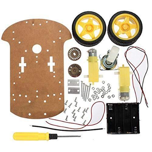 ELENXS Praktische intelligente Roboter-Auto Chassis Kit Geschwindigkeit Encoder Batteriebox Universal-Wheel Set Kompatibel für Arduino