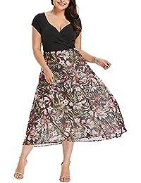 34701f7aeb59 Yusealia Abito Donna Estivo Eleganti da Cerimonia Vestito Donna Lungo V  Collo,Stampa Floreale Abiti