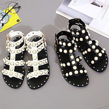 LvYuan Da donna Sandali Comoda PU (Poliuretano) Estate Casual Footing Comoda Perle Fibbia Piatto Bianco Nero Piatto White